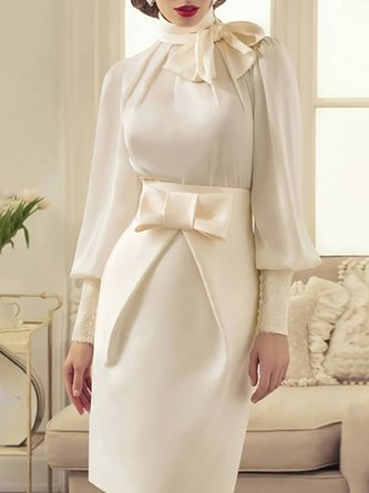 Tie-Neck Bow Elegant Top with Skirt Set