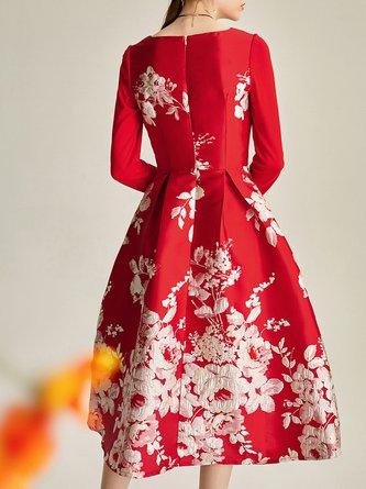 Printed Floral A-line Elegant Midi Dress