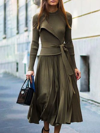 Pleated Elegant Top with Skirt Set