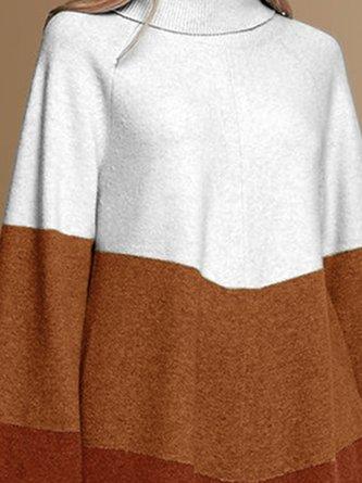 White Color-Block Casual Turtleneck Sweater