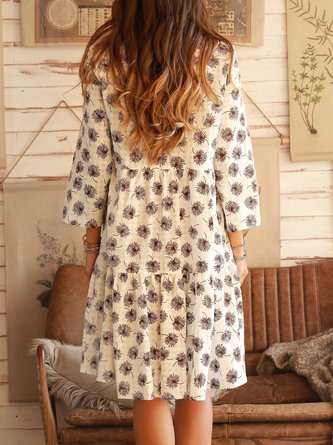 Leaf Printing Long Sleeve Holiday Midi Dress