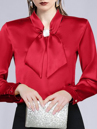 Solid Sheath Tie-neck Elegant Blouse