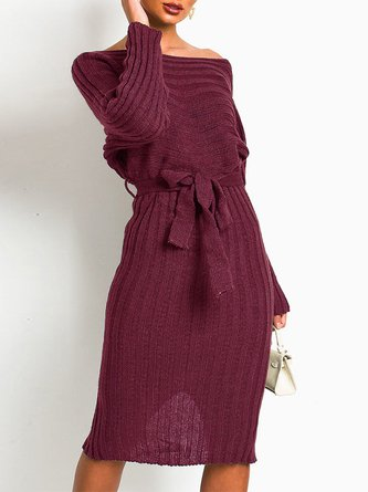 Knitted Slit Solid Casual Sweater Dress