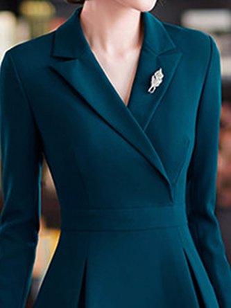 Zipper A-Line Daily Elegant Midi Dress