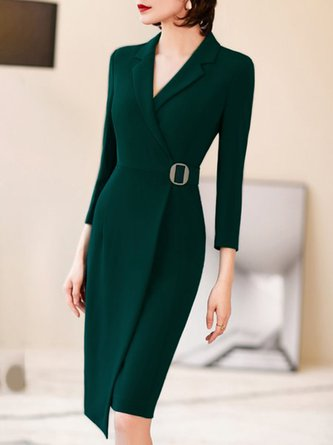 Lapel Asymmetric Elegant Midi Dress
