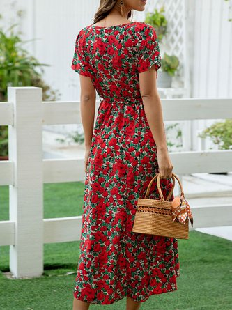 Red Long Sleeve Shift Floral Holiday Midi Dress