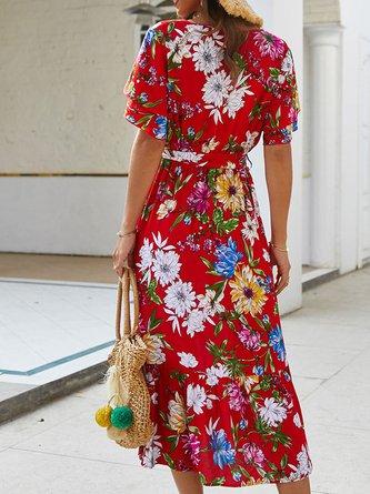 Holiday Short Sleeve Boho Midi Dress