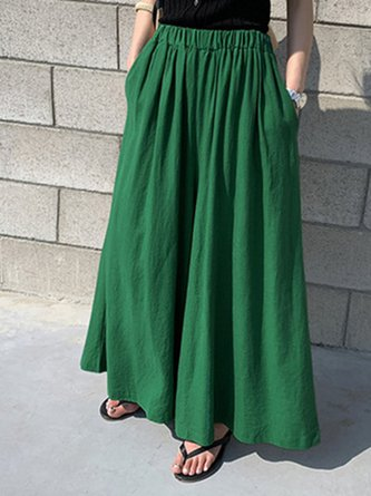 Ruched Shift Casual Linen Pants