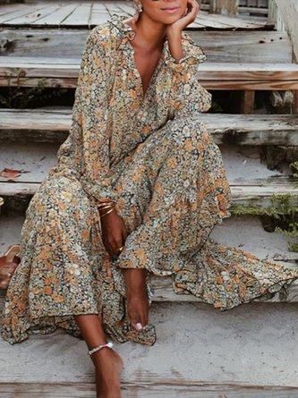 Printed Floral Holiday Maxi Dress