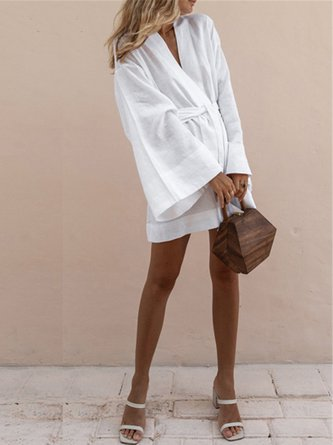 Solid Shift Holiday Linen Dress