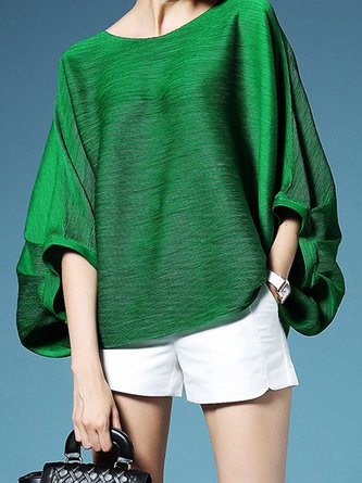 Ruched Batwing Shift Casual Top