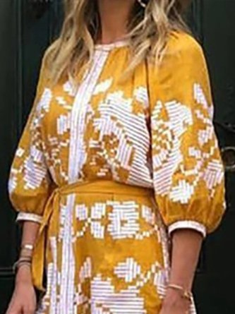 Printed Graphic Holiday Linen Dress