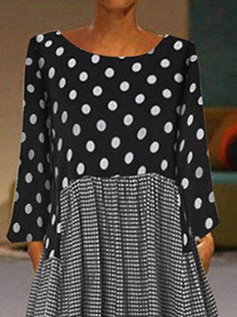 Polka Dots A-line Paneled Holiday Linen Dress