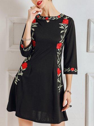 Floral Embroidered A-Line Elegant Linen Dress