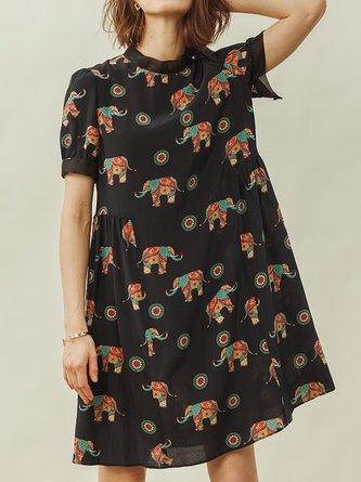 Stand Collar Shift Daily Animal Casual Midi Dress