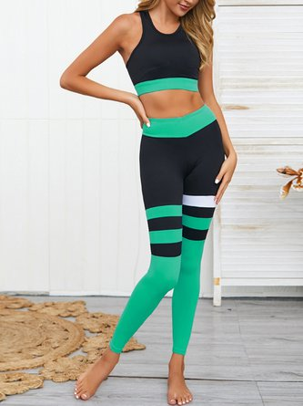 Color-Block Yoga Sports Bras With Leggings Set