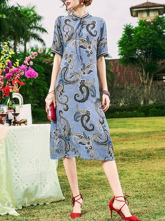 Tie-Neck Blue Shift Beach Printed Floral Midi Dress