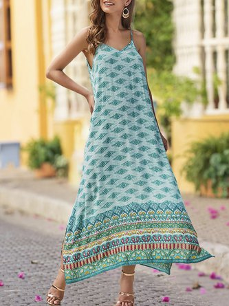V Neck Beach Paneled Holiday Maxi Dress