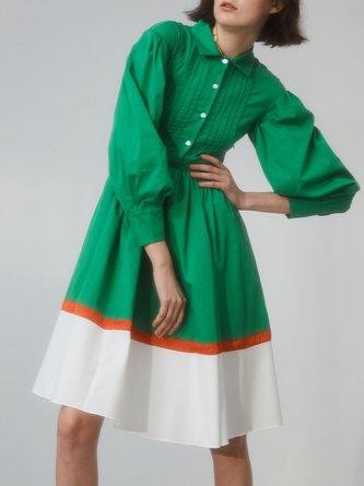 Green Pleated A-line Long Sleeve Cotton Shirt Dress