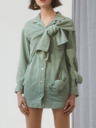 d Bow Statement Shirt Collar Green Mini Dress
