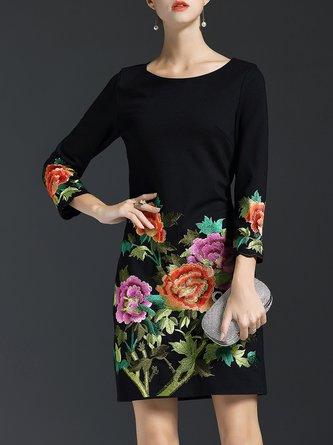 Vintage Floral-embroidered A-line Midi Dress