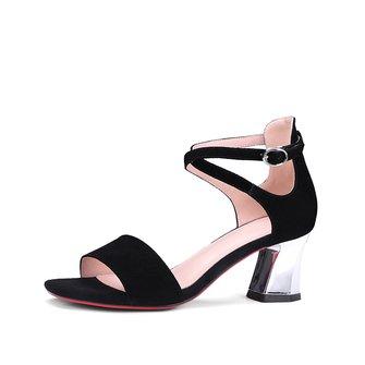 Summer Buckle Spool Heel Suede Dress Sandals