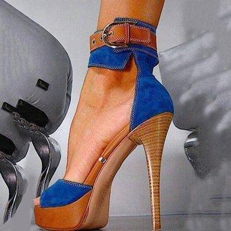 Blue Stiletto Heel Buckle Denim Sandals