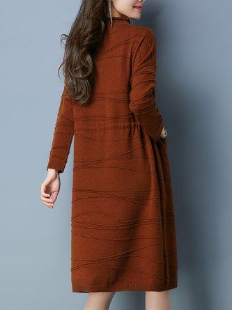 Long Sleeve Simple Stand Collar Midi Dress