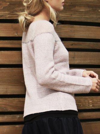 Pink Slash Neck Long Sleeve Sweater