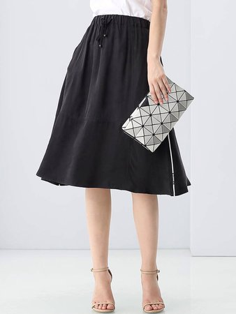 Knee Length Black Skirt - Shop Online | StyleWe