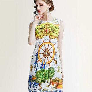 A-Line Printed Elegant Printed Mini Dress