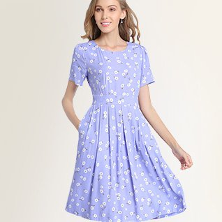 A-Line Printed Pleated Daily Floral Midi Dress