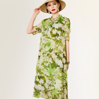 Tie-Neck Green Summer Shift Daily Ombre/tie-Dye Holiday Midi Dre