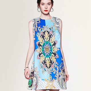 Summer Sleeveless A-Line Daily Paneled Graphic Casual Midi Dress