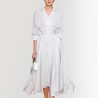 Shirt Collar White Balloon Sleeve A-Line Date Midi Dress