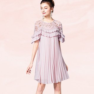Pink Crew Neck Pleated A-Line Date Casual Solid Midi Dress