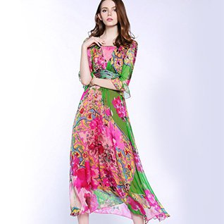 Square neck Fuchsia Swing Frill Sleeve Silk Elegant Floral Midi
