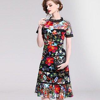 Stand Collar Black Date Elegant Floral-Embroidered Midi Dress