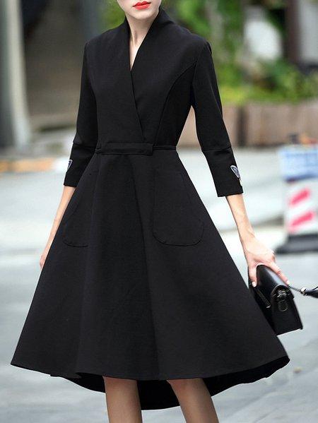 Stylewe Plus Size Black Midi Dress A Line Daily Dress 3 4