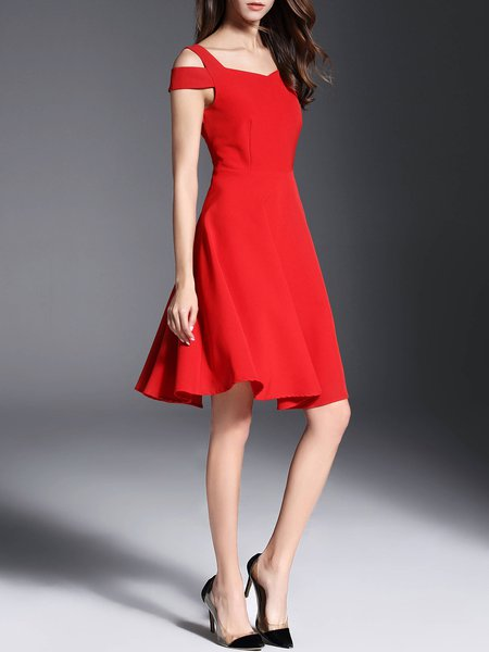 Stylewe Cold Shoulder Midi Dress A-line Party Dress Short