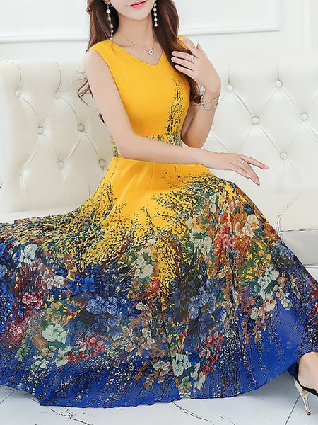 Stylewe Plus Size V Neck Midi Dress Dress Sleeveless