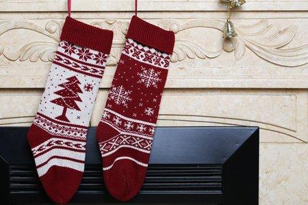 【Free shipping】Snowflake Christmas Tree Gift Bag Decorative Socks Big Candy  Bag Christmas Socks