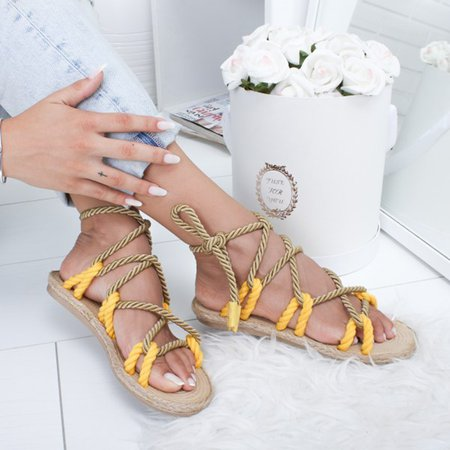 Stephanie, Womens Lace-Up Casual Flat Summer Comfy Sandals Shoes
