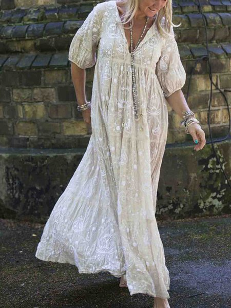 Hololady 1 V Neck Half Sleeve Dresses – hololady