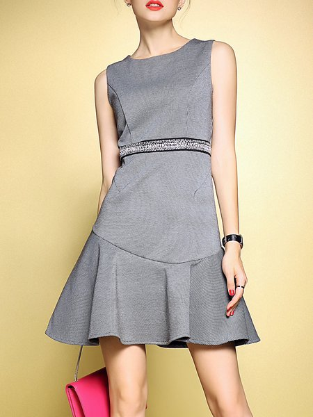 Multicolor Crew Neck Houndstooth Sleeveless Mini Dress