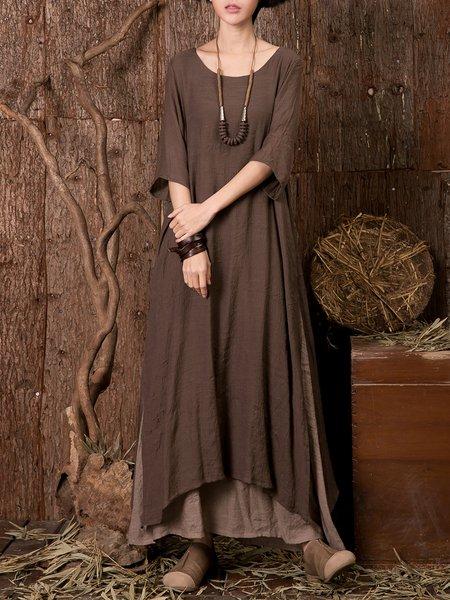 Coffee Slit Shift 3/4 Sleeve Linen Dress