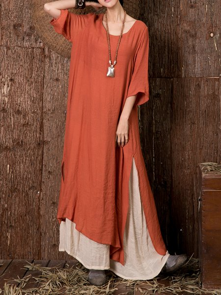 Tiered Crew Neck 3/4 Sleeve Casual Linen Dress