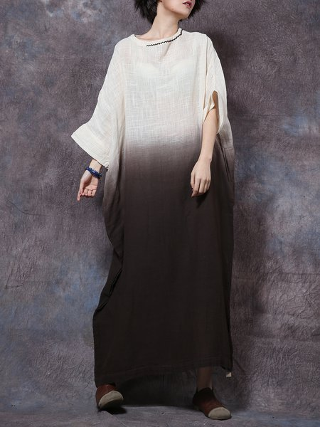Boat Neck Casual Shift Ombre/Tie-Dye Linen Dress
