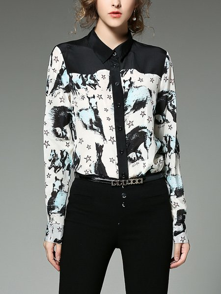 Black Polyester Paneled Casual Blouse