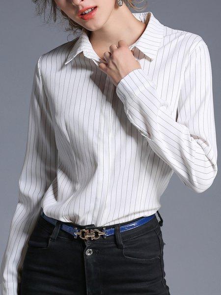 White Stripes Casual Shirt Collar Blouse
